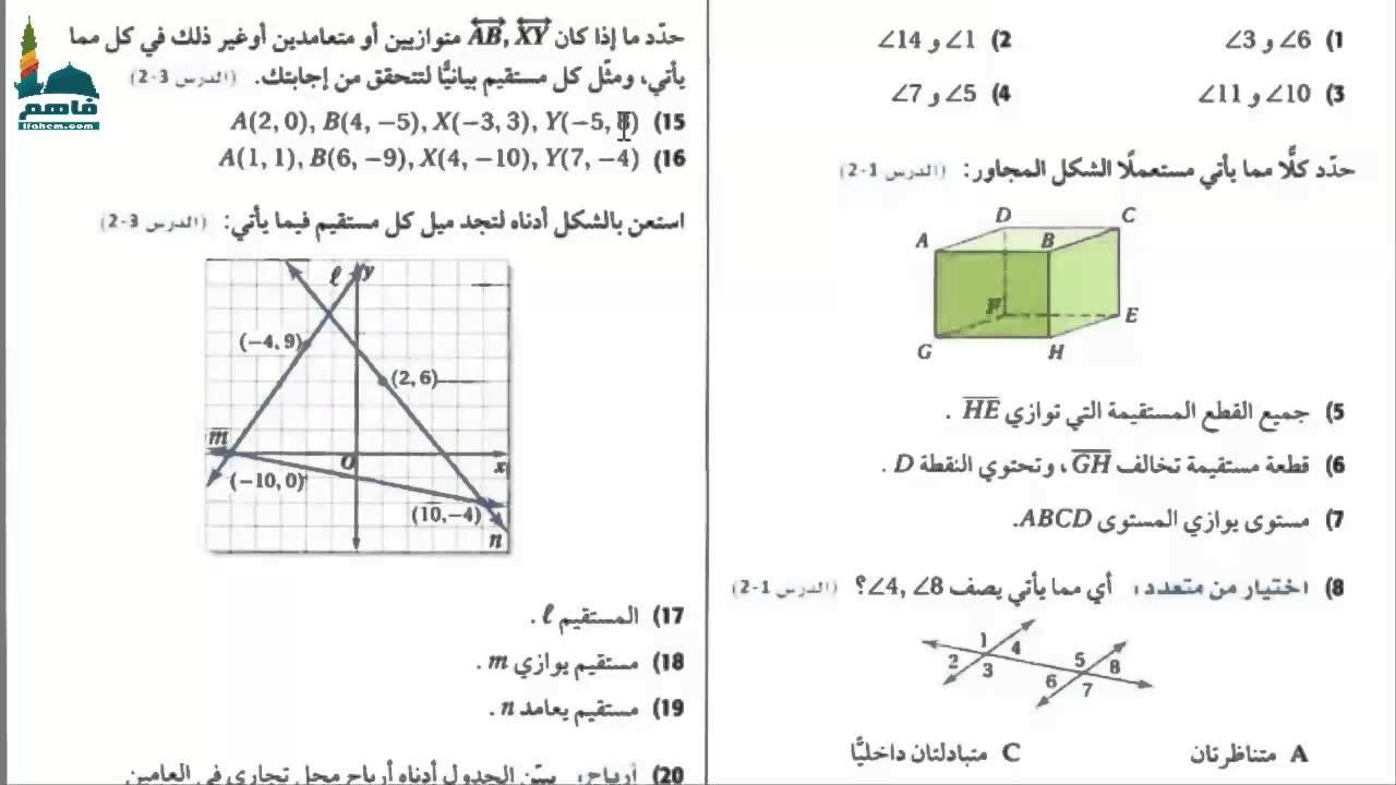 حل كتاب رياضيات اول ثانوي مقررات الفصل الاول