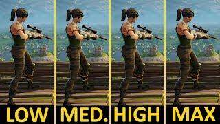 Fortnite Battle Royale   GTX 1050 Ti   i5-7400   Low vs. Medium vs. High vs. Epic   1080p