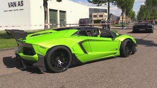 Liberty Walk Lamborghini Aventador w/ Capristo Exhaust - INSANE Launch Control On The Road!