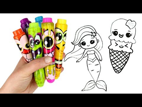 Drawing & Coloring with Surprise Toys Ariel Unicorn Ice Cream Smooshy Mushy Miximals Cakepop Cuties