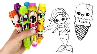 Drawing & Coloring with Surprise Toys Ariel Unicorn Ice Cream Smooshy Mushy Miximals Cakepop Cuties