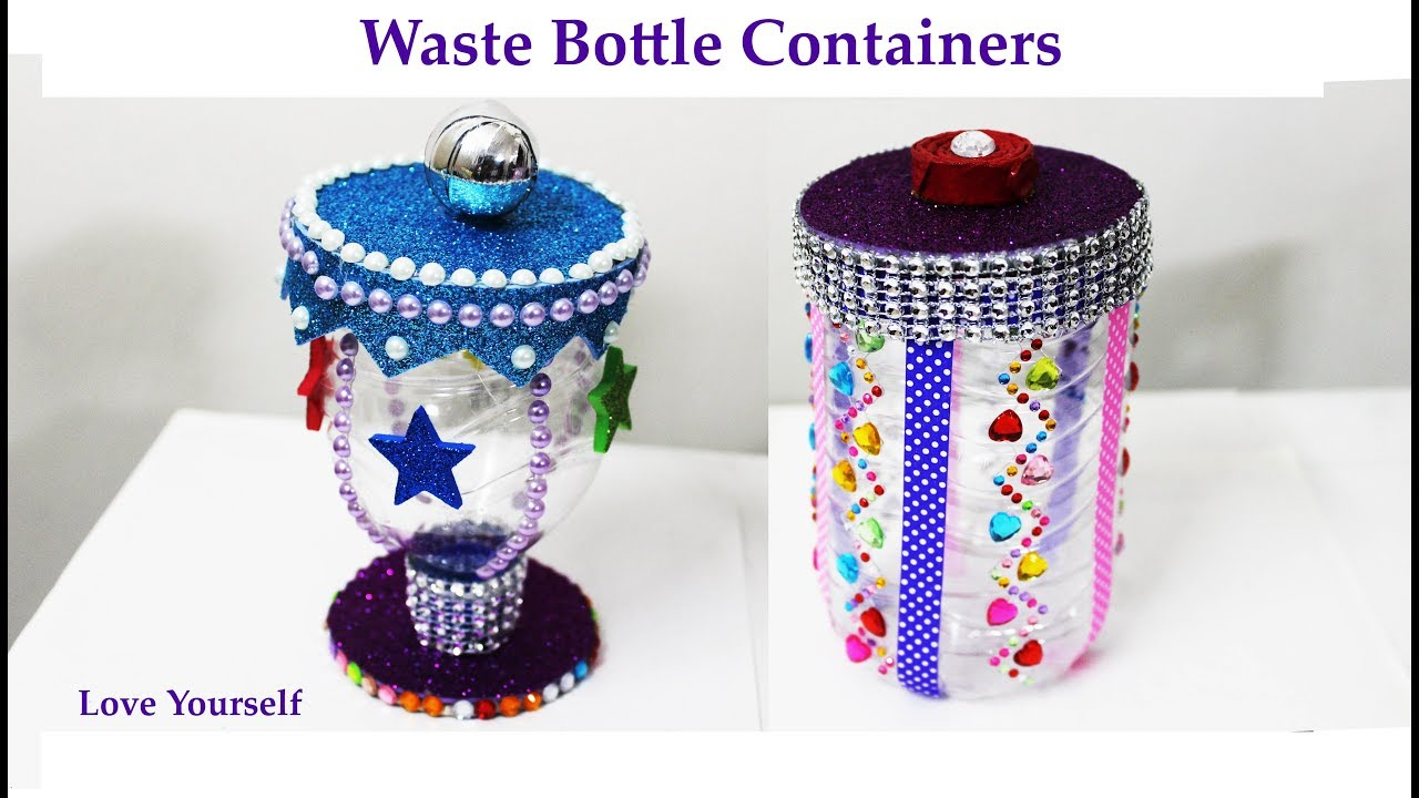 Diy waste bottle craft plastic bottle container waste for Waste material craft work with bottles