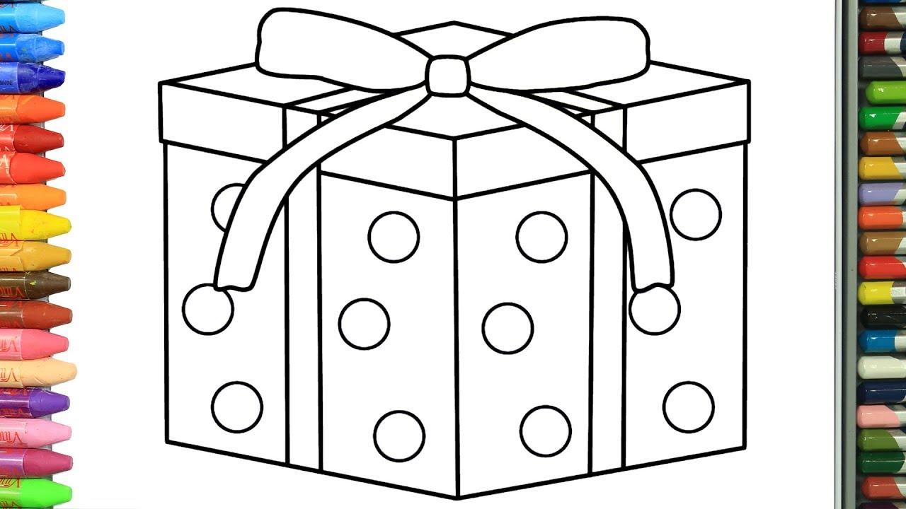 Cómo Dibujar Y Colorear Caja De Regalo De Navidad Dibujos Para