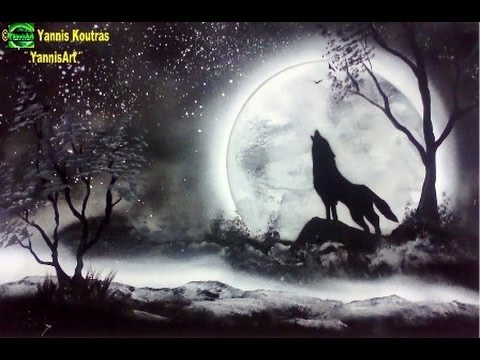wolf spray paint art tutorial beginners youtube