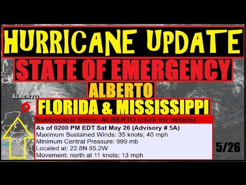 """HURRICANE Update! #ALBERTO """"STATE OF EMERGENCY"""" MISSISSIPPI, FLORIDA, More States to come."""