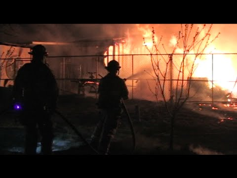 Fire Destroys A Home & A Barn In Ceres, California - Firefight Caught On Film