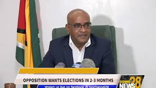 OPPOSITION WANTS ELECTIONS IN 2 3 MONTHS
