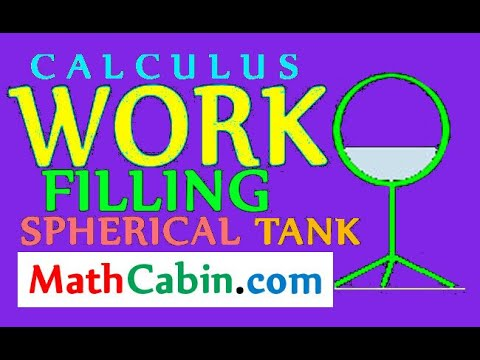 Calculus: Work Done Filling The Spherical Tower with Water (pumping work problems)