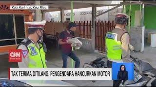 Tak Terima Ditilang, Pengendara Hancurkan Motor