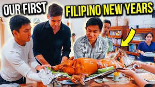 NEW YEARS EVE with our FILIPINO friends - they let me cut the LECHON!