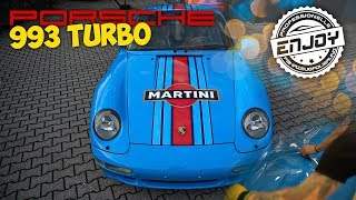 Enjoy Fahrzeugfolierung | Porsche 993 Turbo Miami Blue/ Martini Design