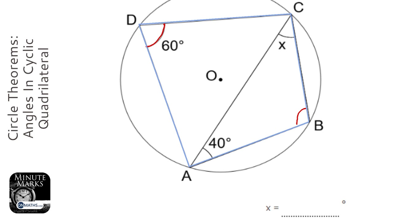 Circle Theorems: Angles In Cyclic Quadrilateral (Grade 6) - OnMaths GCSE  Maths Revision