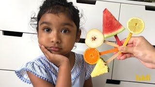 Happy Baby Ishfi Learn Names of Colourful Fruits