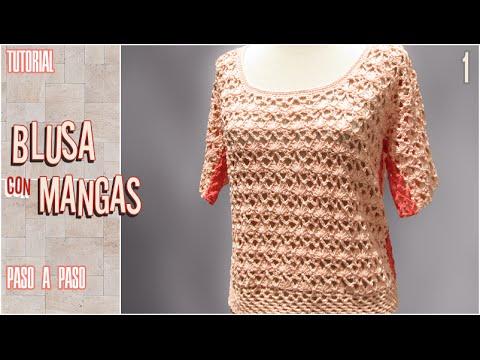 e19a62c2b DIY Blusa con mangas a crochet, paso a paso (1 de 2) - YouTube