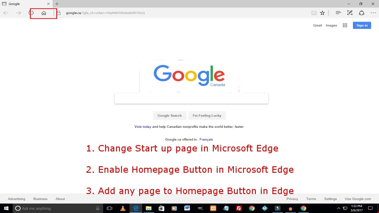 Make Google Your Homepage On Microsoft Edge   Enable Home Button In Edge