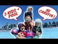 SWIMMING With 3 KIDS At The POOL!
