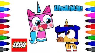 Unikitty! Coloring Pages for Kids | Coloring Lego Unikitty and Puppycorn | Cartoon Network