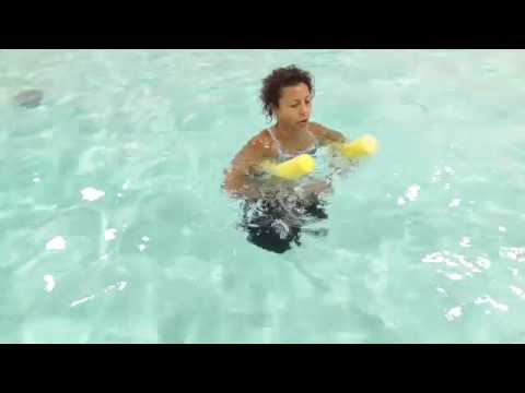 Aqua Aerobics Exercise Deep water pool noodle moves with Marietta Mehanni