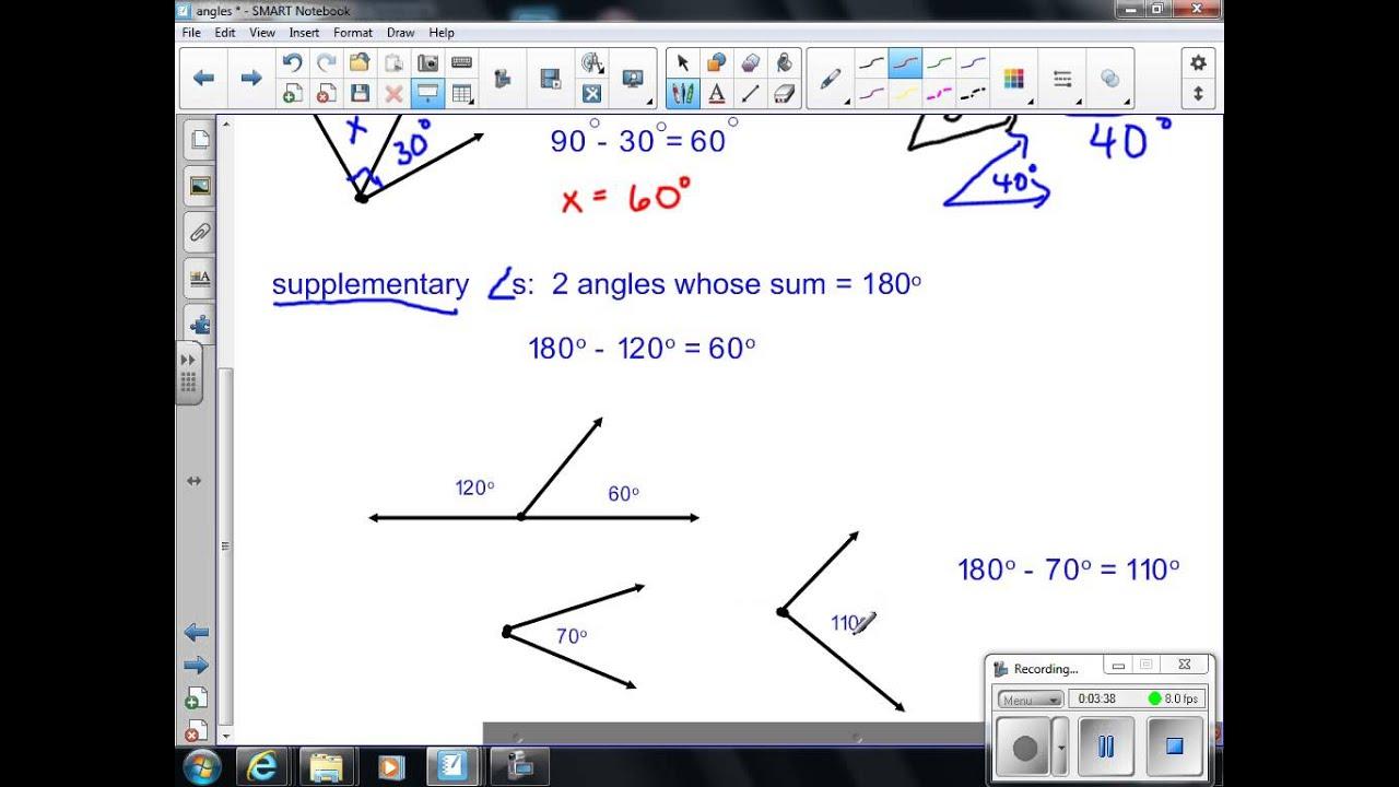 Supplementary angles worksheet 7th grade