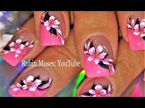 Pink Flower Spring Nails Tutorial 2018