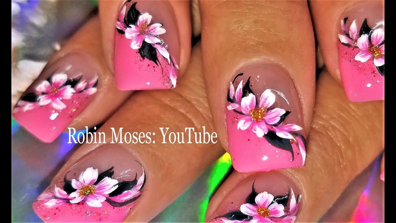 pink flower nail art design spring