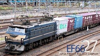 【EF66 27 + コキ 】警笛を響かせて ニーナ牽引の長い貨物列車 4093レ 大宮操車場 2019.6.5