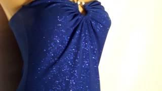 Синее блестящее платье с перчатками и шарфом(Платье синее блестящее с золотистым люрексом... тянется, эластичное... короткое с воланами из полистера......, 2015-04-29T09:34:13.000Z)