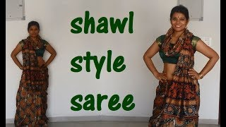 Shawl style SAREE drape in Fashion!