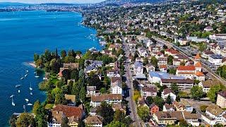 Drone Views of Switzerland in 4k: Küsnacht - Lake Zurich to Limberg