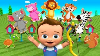 Learn Animals Names for Children with Little Baby Fun Play Archery Bow - Animals House 3D Kids Toys