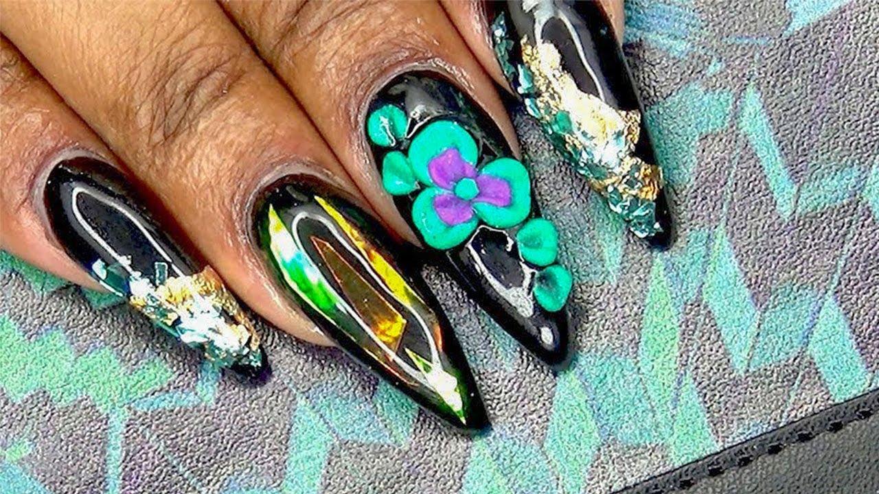 Midnight Tropic Acrylic Nails   Gresso Miami Inspired ...