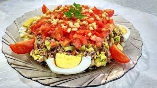 Слоеный рыбный салат МАМБА. Простой салат для Новогоднего Стола