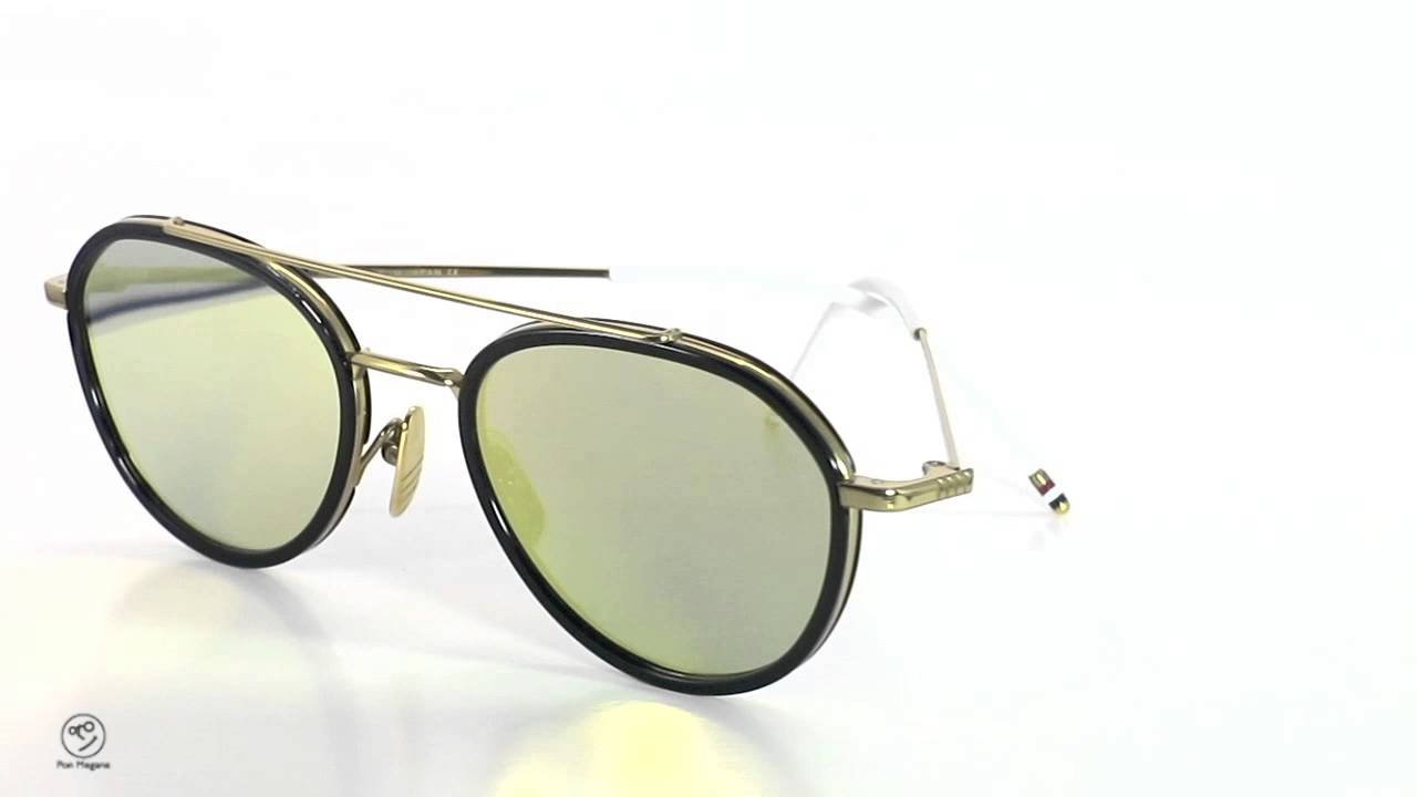 61b570c1bb6 Thom Browne Eyewear サングラス Tb 801 B 18kgld Nvy 51size Dark Blue Gold Mirror  正規取扱