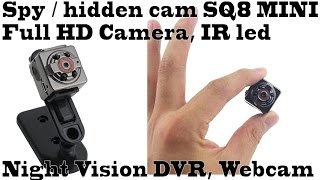 Spy / hidden cam SQ8 MINI Full HD cam, CAR DVR, webcam, test daytime & night, ir led, night vision