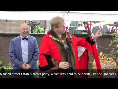 Then Lord Mayor David Wootton visits the Mansell Street Estate's Diamond Jubilee street party