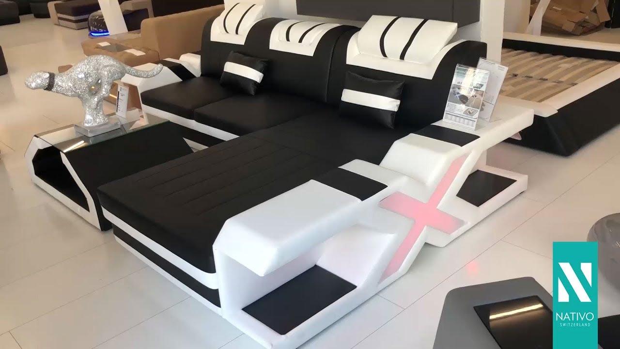 NATIVO Möbel Österreich   Designer Sofa MYSTIQUE MINI In L Form Mit LED  Beleuchtung U0026 USB Anschluss