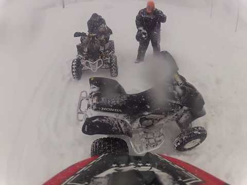 Riding YFZ 450 in Town During a Blizzard Part 1