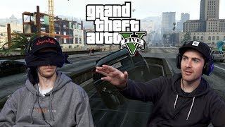 PLAYING GTA BLINDFOLDED AIN'T EASY - Grand Theft Auto V | 2dudes1game