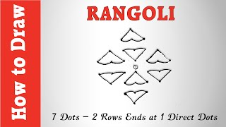 How to Draw Rangoli : 7 Dots - 2 Rows Ends at 1 Direct Dots