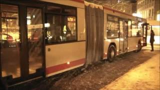 SWN MAN Gelenkbus steckt im Eis fest!!  (Gelenkausbruch+Fastunfall)