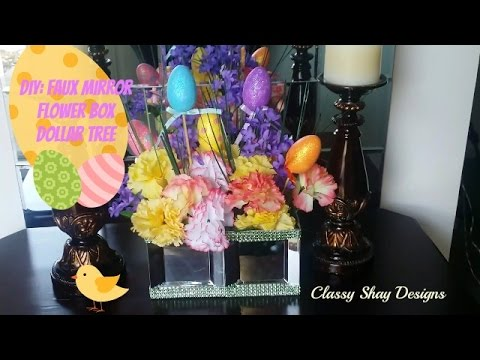 DIY Faux Mirror Flower Box Dollar Tree Items