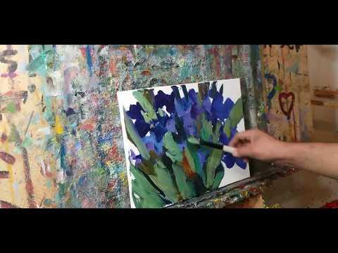 Oil Painting Irises Garden - Real Time - Artist JOSE TRUJILLO