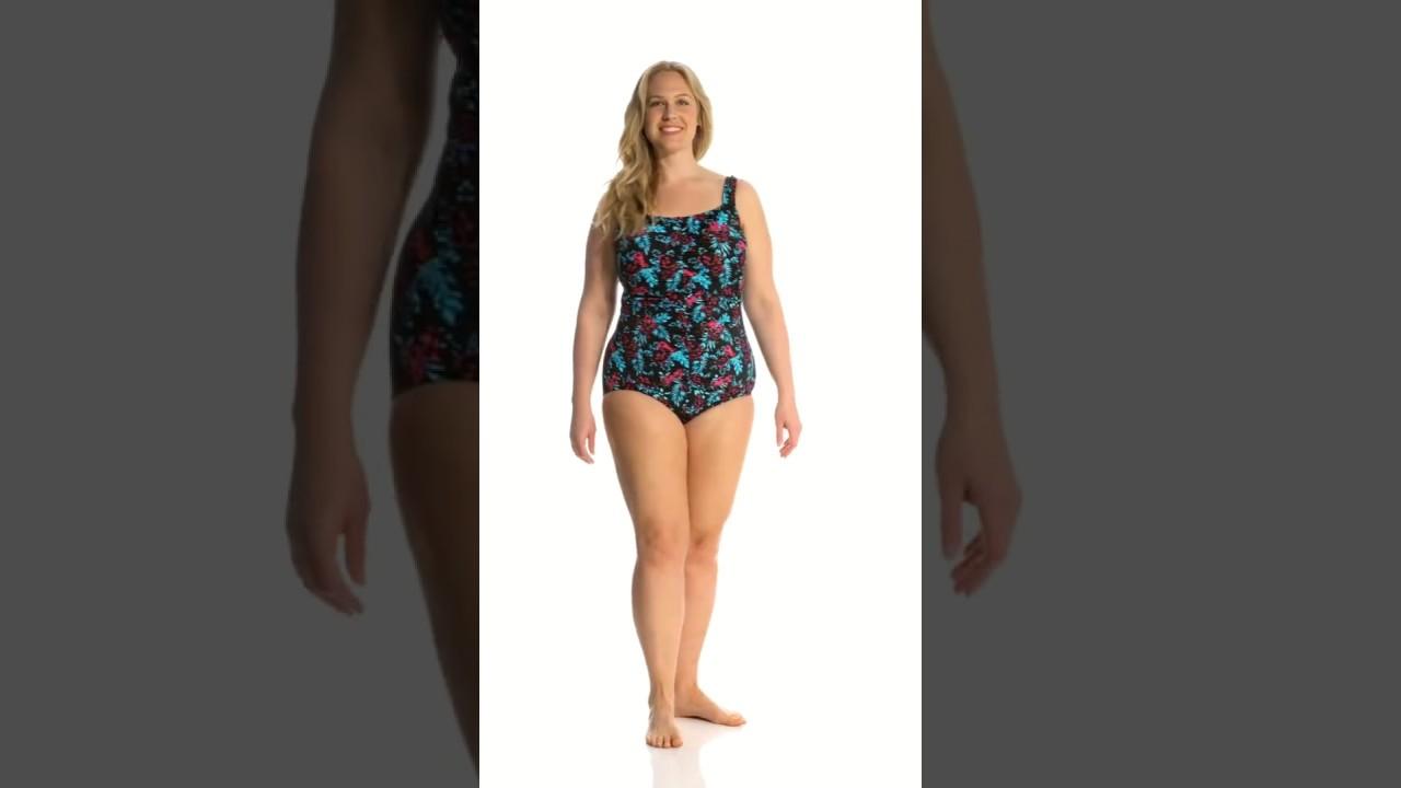 0cab932057b T.H.E. Plus Size Mai Kai Mastectomy Shirred Front Girl Leg One Piece  Swimsuit