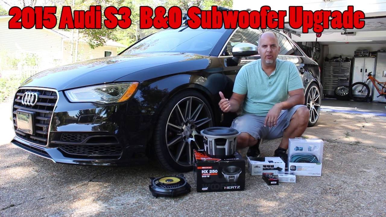 small resolution of 2015 audi s3 b o subwoofer upgrade 10 inch hertz audison amp install walk through youtube