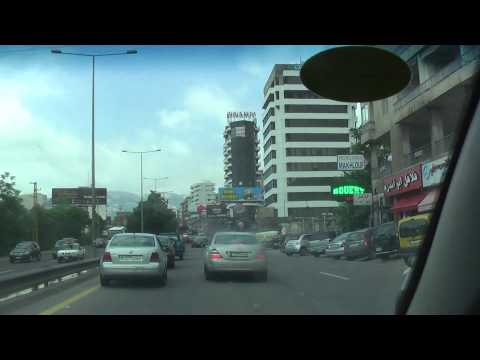 Beirut 2014 4 of 10 - Driving in traffic on road to Our Lady of Lebanon chair lift