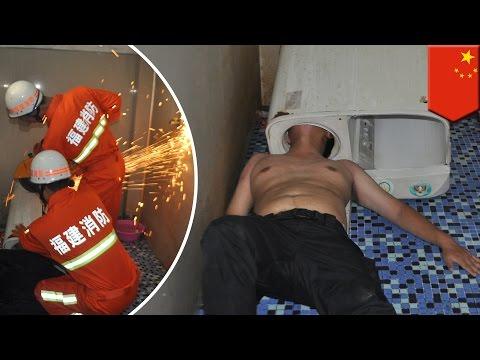 Washing machine fail: Chinese man gets head stuck in washing machine trying to fix it - TomoNews
