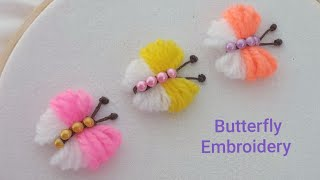Hand Embroidery Amazing Trick - Easy Butterfly Embroidery Tricks - DIY Woolen Butterfly Making