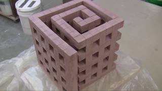 "Ceramic Sculpture ""Spiral Cube"""