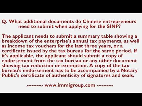 What additional documents do Chinese entrepreneurs need to submit when applying for the SINP?