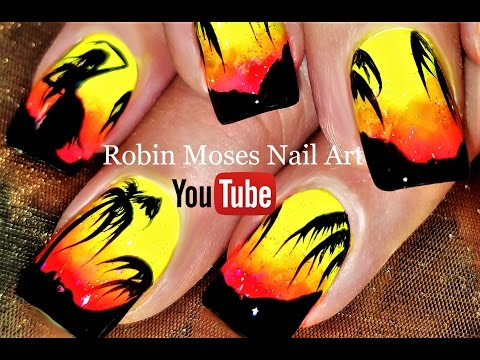 Essie Neon Tropical Nails | Summer Palm Tree Nail Art Design Tutorial